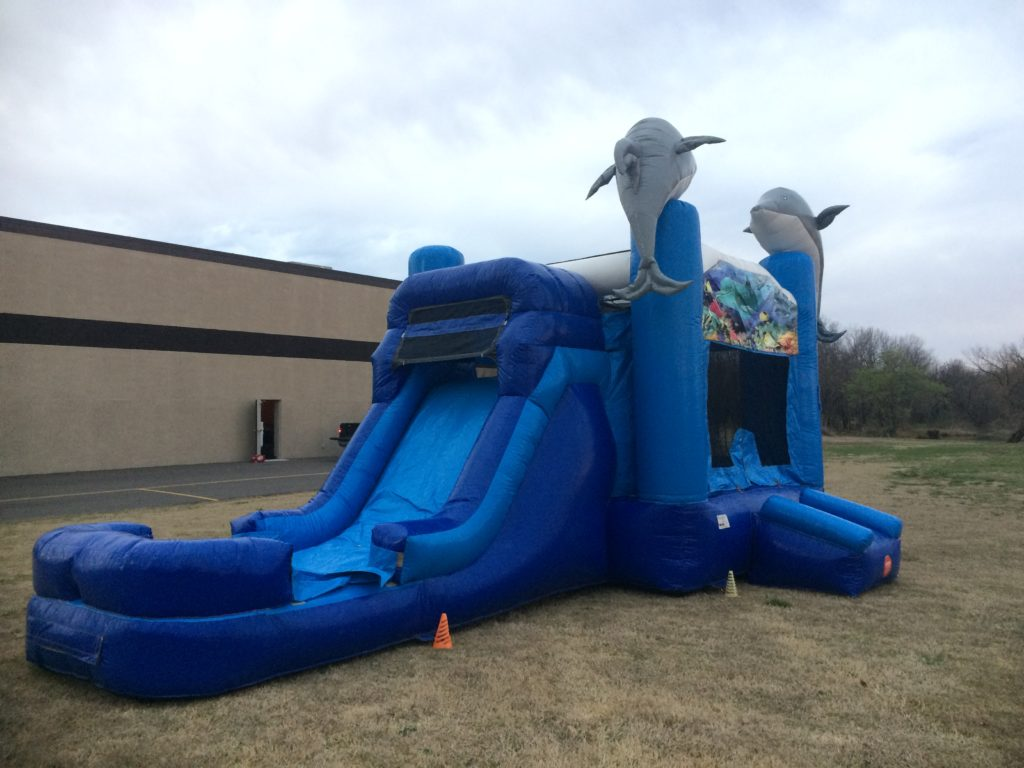Dolphin Combo Bounce House Slide Rental Tulsa